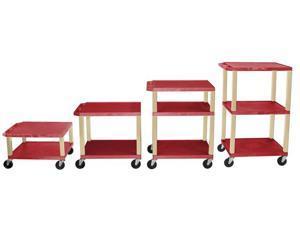 H Wilson WT1642E Adjustable Height 3 Shelves Putty Legs Tuffy Cart Red