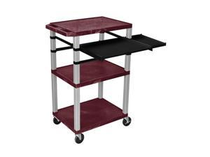 """H. Wilson Multipurpose Mobile Multimedia Tuffy Presentation Cart Front And Side Pull Out Shelf Burgundy Nickel 42"""""""