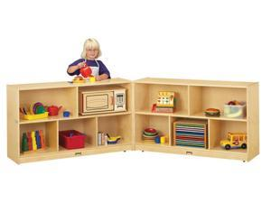 Jonti-Craft Thriftykydz Kids Low Fold N Lock Mobile Wooden Multiple Shelf Toy Storage Cubby Organizer Unit