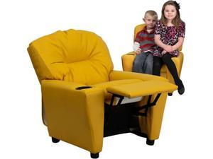 Flash Furniture Contemporary Yellow Vinyl Kids Recliner with Cup Holder [BT-7950-KID-YEL-GG]