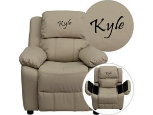 Flash Furniture Personalized Deluxe Heavily Padded Beige Vinyl Kids Recliner Chair with Storage Arms