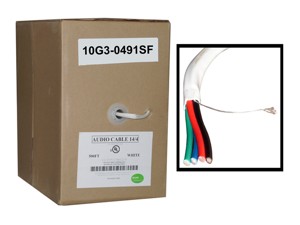 Cable Wholesale 14/4 (14AWG 4C) 105 Strand/0.16mm Speaker Cable CM / Inwall Rated Oxygen-Free White - 500 ft Pullbox