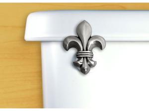 FunctionalFineArt Fleur de Lis Satin Pewter Toilet Flush Handle / Tank Lever - Angled Tank Mount