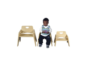 "ECR4Kids 8"" Stackable Wooden Toddler Chair - RTA, 2 Pack"