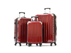 Olympia Stanton 3 piece Hardcase Airline Outdoor Travel Rolling Luggage Suitcase set in Burgundy