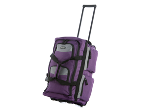"Olympia 26"" 8 Pocket Sports Cargo Travel Rolling Duffel Carry-On Luggage Suitcase Tote Bag - Dark Lavender"