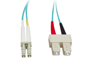 Cable Wholesale Fiber Optic Cable, LC / SC, Multimode, Duplex, 10-Gigabit Aqua, 50 / 125, 2 meter (6.6 foot)