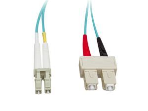Cable Wholesale Fiber Optic Cable, LC / SC, Multimode, Duplex, 10-Gigabit Aqua, 50 / 125, 2 meter (6.6 foot)