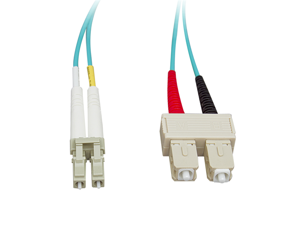 Cable Wholesale Fiber Optic Cable, LC / SC, Multimode, Duplex, 10-Gigabit Aqua, 50 / 125, 3 meter (13 foot)