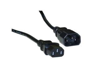 Cable Wholesale Computer / Monitor Power Extension Cord, Black, C13 to C14, 10 Amp, UL / CSA rated, 6 foot