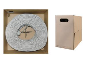 Bulk Shielded Cat 6 Gray Ethernet Cable, STP (Shielded Twisted Pair), Solid, Spool, 1000 foot