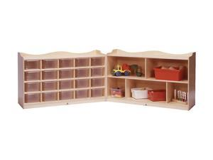 Steffywood Playschool Home Classroom 5-Section Storage Cubby Organizer with Rolling Casters