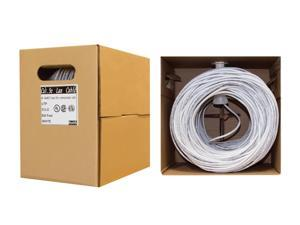 Cable  Bulk Cat5e White Ethernet Cable, Solid, UTP  Pullbox, 500 foot