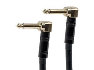 25ft 1/4inch TS or Mono Phono Right Angle Male to Right Angle Male 16AWG Audio Cable Gold Plated