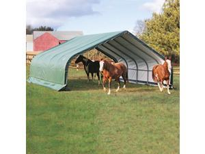 ShelterLogic 22x20x10Feet Peak Style Run In/Hay Storage Shelter Green Cover