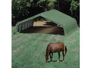 ShelterLogic 22x24x12 Feet Outdoor Travel Peak Style Run-In Shelter Green Cover