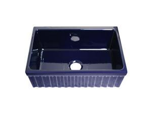 "Sink w/ Front Apron &Decorative 2 1/2""Lip One Side &  2""Lip On Other WHQ330-Blue"