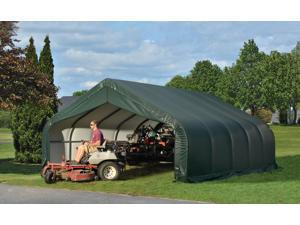 Shelterlogic Outdoor Garage Automotive Boat Car Vehicle Storage Shed 18x20x10 Peak Style Shelter Green Cover