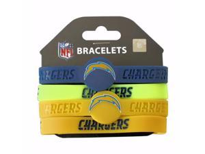 SAN Diego Chargers NFL Silicone Rubber Wrist Band Bracelet Set of 4