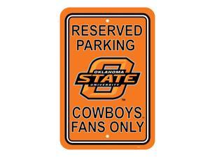"""Fremont Die College Sports Team Oklahoma State Cowboys 12"""" X 18"""" Plastic Parking Sign"""