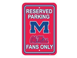 "Fremont Die College Sports Team Logo Mississippi Rebels 12"" X 18"" Plastic Parking Sign"