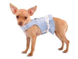Doggles Pet Dog Teacup Harness Dress Blue Jean Fringe