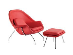 Fine Mod Imports Decorative Furniture Woom Chair and Ottoman in Leather Red