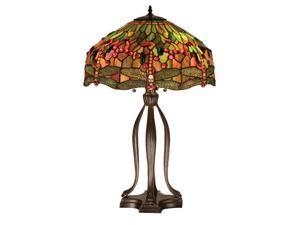 "Meyda Home Lighting Window 30.5""H Tiffany Hanginghead Dragonfly Table Lamp 31109"