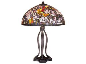 "Meyda Home Lighting Window 30""H Tiffany Magnolia Table Lamp 31146"
