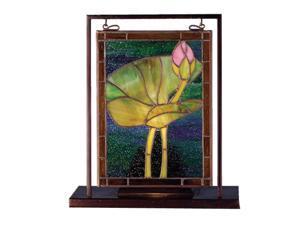 "Meyda 9.5""W X 10.5""H Tiffany Pond Lily Lighted Mini Tabletop Window"