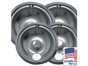"""Range Kleen Drip Bowl Chrome 2 Small / 6"""" And 2 Large / 8"""", 4 Pack -119204XN"""