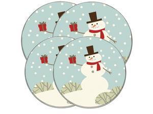 "Range Kleen Kitchen Electric Stove Cooktop Round Burner Kovers ""Snowman with Gift"" Hallmark"