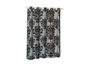 Carnation Home Fashions EZ-ON Beacon Hill Polyester Shower Curtain in Chocolate on Spa Blue