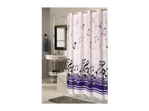 Carnation Home Fashions Living Room Decorative EZ-ON Blue Note Polyester Shower Curtain