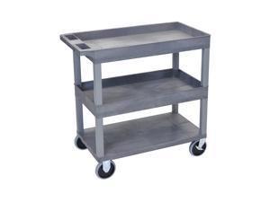 Offex HD High Capacity 2 Tub and 1 Flat Shelves Cart in Gray