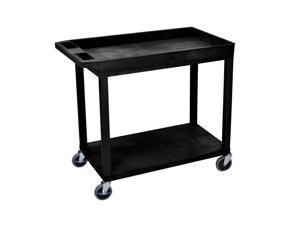 Offex Black EC12 18x32 Cart 1 Tub/ 1 Flat Shelves