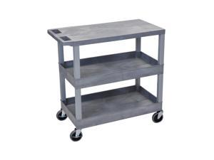 Offex Gray EC211 18x32 Cart with 2 Tub Shelves and 1 Flat Shelves