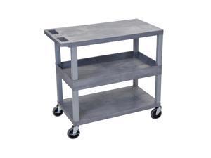 Offex Gray 18x32 Cart 2 Flat/1 Tub Shelves