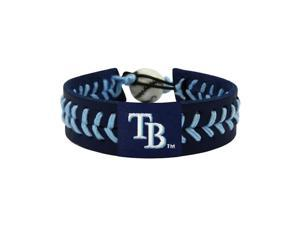 MLB Tampa Bay Rays Team Color Gamewear Leather Baseball Bracelet Charm Gift Set