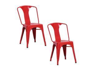 Amerihome 2 Piece Metal Dining Chair Set Red