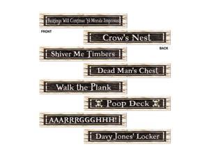 """Beistle Pirate Sign Cutouts 4"""" x 24"""" (4 Count)- Pack of 12"""