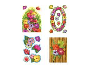 """Beistle Hibiscus Cutouts 2""""-16"""" (18 Count)- Pack of 12"""