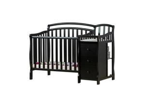 Dream on Me Casco, 4 in 1 Mini Crib and Dressing Table Combo in Black