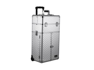 Sunrise Outdoor Travel Professional Cosmetic Holder Silver Diamond Trolley Makeup Case - I3166