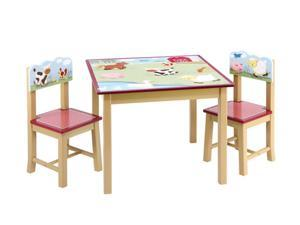 Guidecraft Kids Indoor Playschool Farm Friends Table & Chairs Set