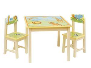 Guidecraft Kids Indoor Playschool Savanna Smiles Table and Chairs Set