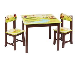 Guidecraft Kids Indoor Playschool Jungle Party Table and Chairs Set