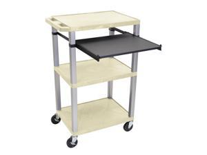 "Luxor 42"" Tuffy Cart - Three Shelves, Pullout Shelf - Nickel Legs"