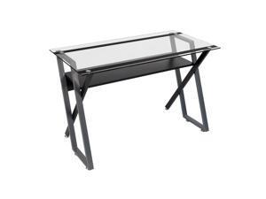 Studio Designs Colorado Desk Black/Silver/Clear Glass