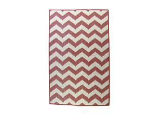 Lava Pillows Floor Decorative Chevron 94x134 Inch Outdoor Reversible Rug Terracotta/Natural
